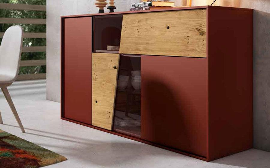 Mueble auxiliar aparador 13c-0002 lacado rojo teja y chapa natural vista completa
