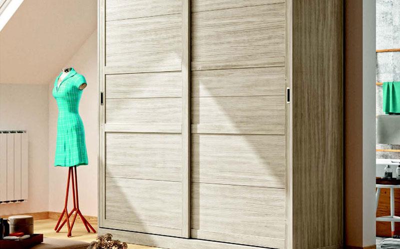 Armario de dos puertas correderas 11b-0001 color beige veteado vista de detalle