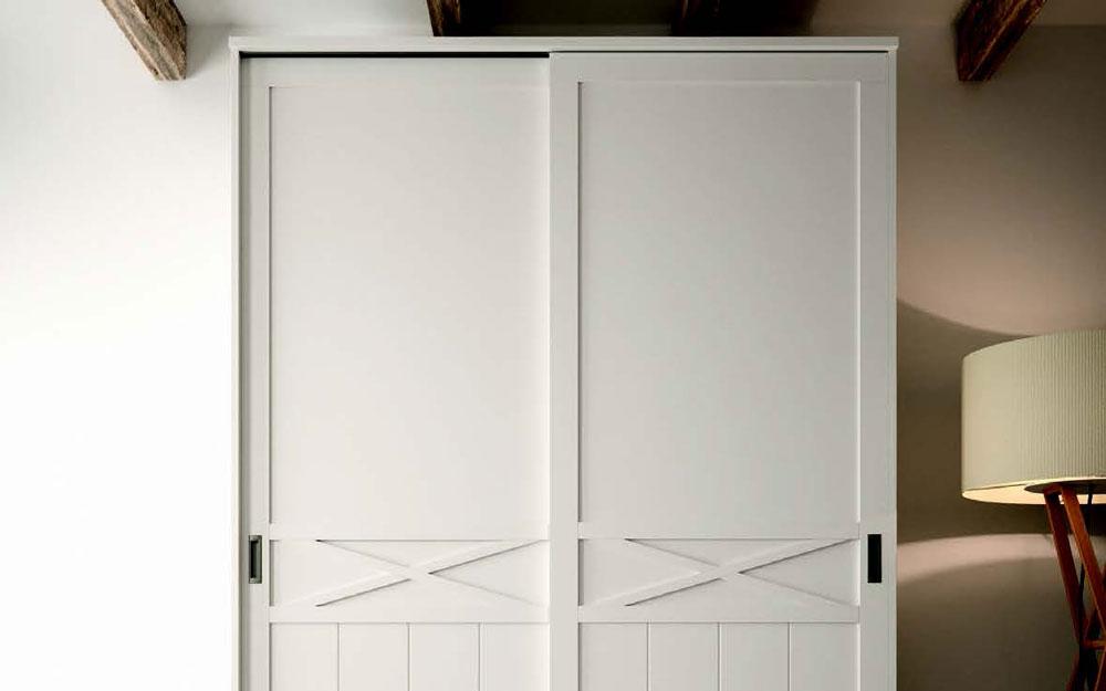 Armario de dos puertas correderas 11b-0001 color blanco vista de detalle superior