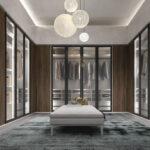 Armario vestidor 11b-0003 color gris con madera y cristal vista frontal