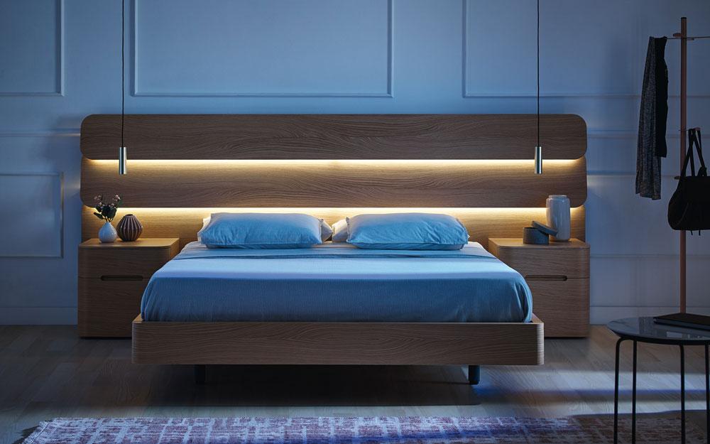 cabecero con luz de dormitorio matrimonio 11-0002 acabado american oak vista frontal