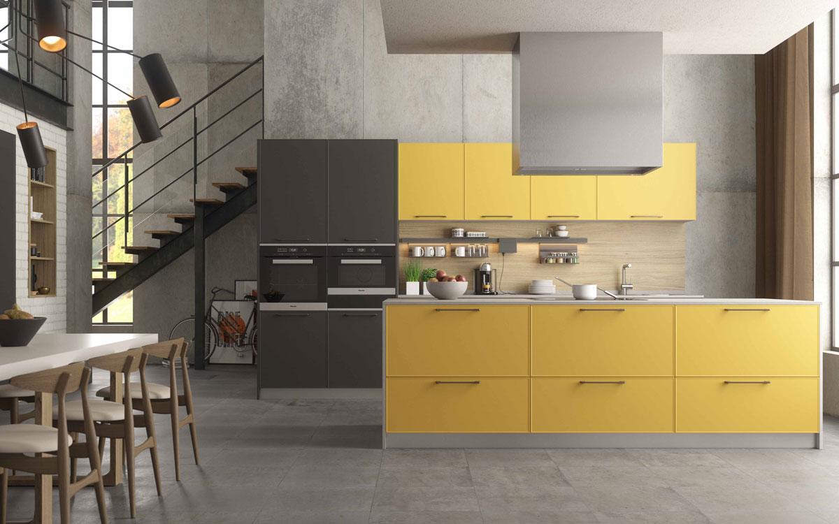 Cocina 15a-0001 color amarillo y negro acabado lacado mate