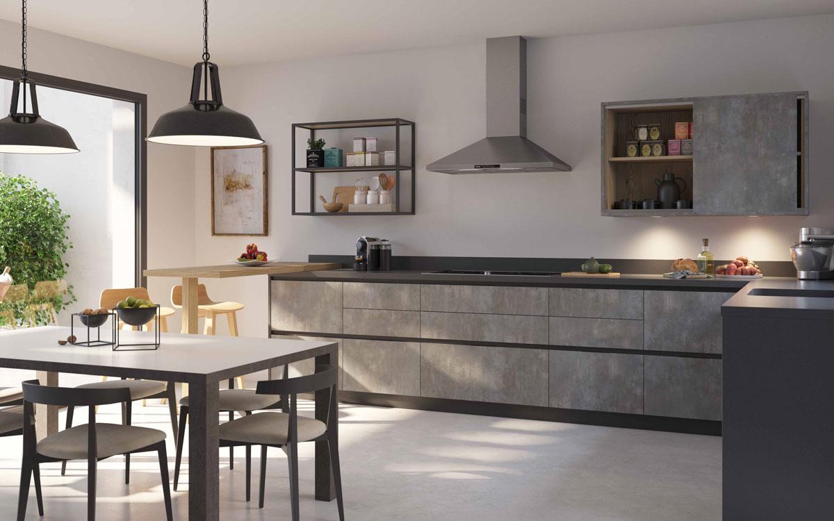 Cocina 15a-0001 color gris y negro acabado plata