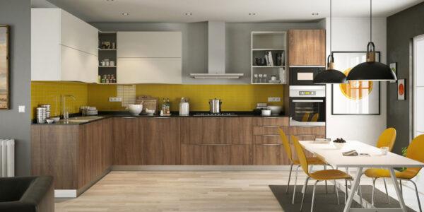 Cocina 15a-0001 madera blanco y amarillo laminado con veta