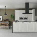 Cocina 15a-0001 de madera de roble lacada en blanco y negro