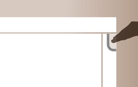 Plano de detalle de apertura de puerta de mueble de cocina embutido