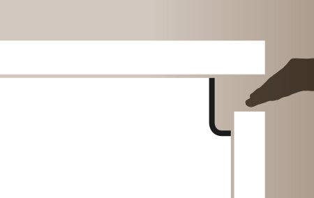Plano de detalle de apertura de puerta de mueble de cocina gola