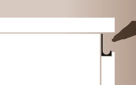 Plano de detalle de apertura de puerta de mueble de cocina perfil