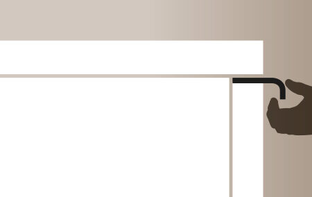 Plano de detalle de apertura de puerta de mueble de cocina canto