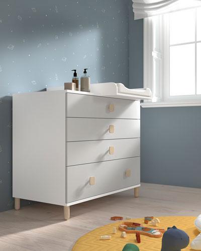 Cambiador y cómoda dormitorio bebé 12i-0002 color blanco y beige vista de detalle