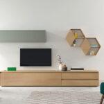 Composición de salón 14b-0008 gris y madera completa frontal