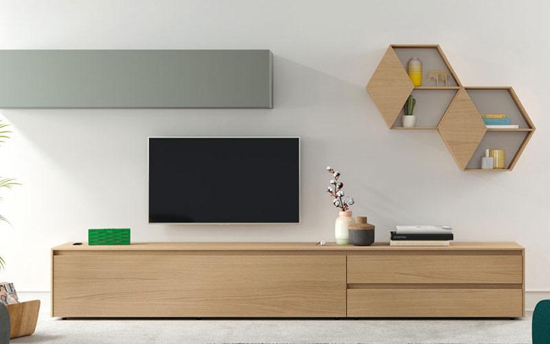 Composición de salón 14b-0008 gris y madera vista de detalle