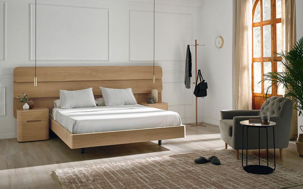 ambiente de dormitorio de matrimonio 11-0002 color american oak vista general