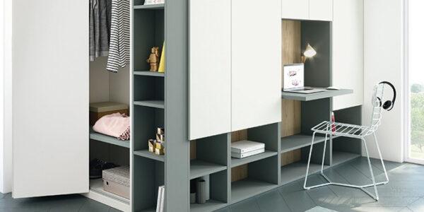 Escritorio integrado en armario 13a-0002 color blanco y verde vista general