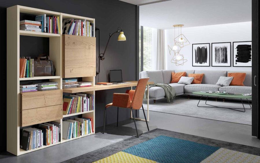 Escritorio integrado en estantería de salón 13a-0002 madera vista completa