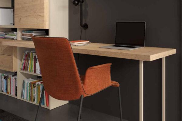 Escritorio integrado en estantería de salón 13a-0002 madera vista de detalle