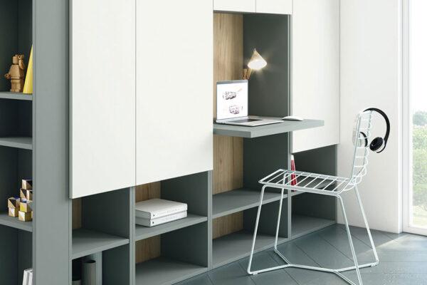 Escritorio integrado en armario 13a-0002 color blanco y verde vista de detalle