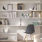 Espacio de trabajo integrado con estantería 13a-0002 color blanco vista frontal