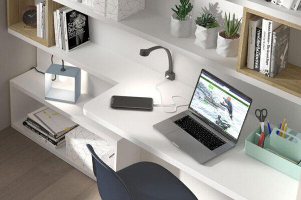 Espacio de trabajo integrado con estantería 13a-0002 blanco vista de detalle top