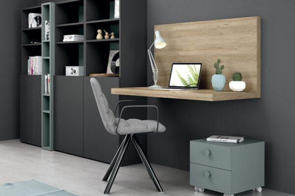 Espacio de trabajo integrado con estantería 13a-0002 madera vista de detalle