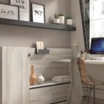 Espacio de trabajo integrado en habitación 13a-0002 madera beige con gris vista completa