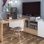 Espacio de trabajo integrado en mueble de salón 13a-0002 madera vista completa
