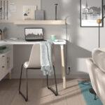 Espacio de trabajo integrado en salón 13a-0002 color beige y blanco vista general frente