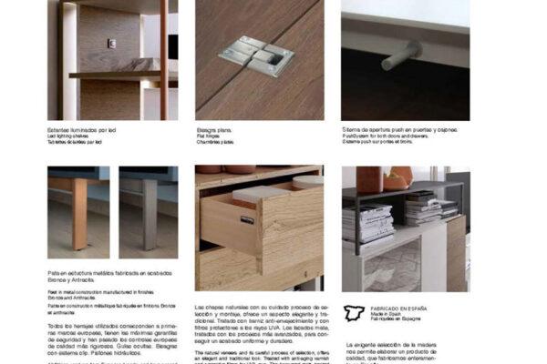 Ficha técnica de acabados de aparadores y vitrinas de salón