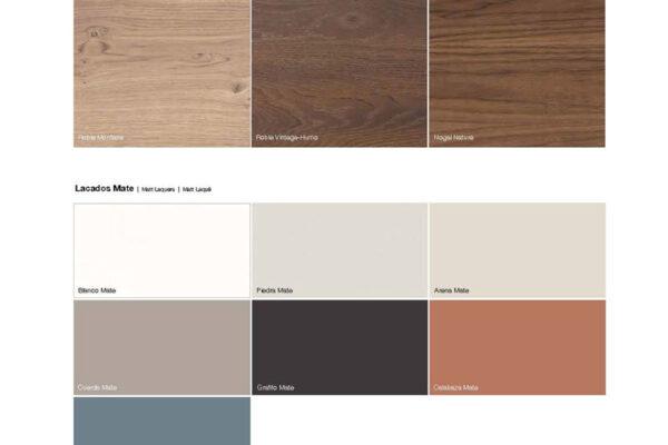 Ficha técnica de acabados y colores de aparadores y vitrinas