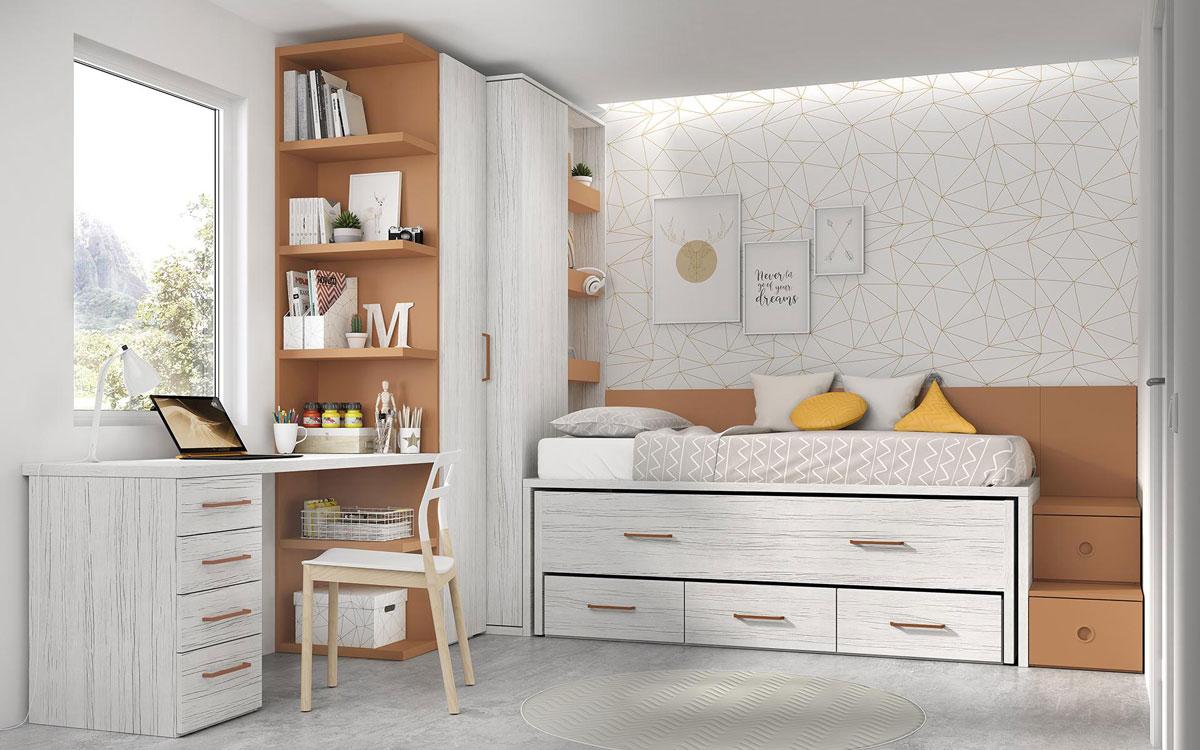 Bicama de dormitorio infantil 12b-0001 color michigan y óxido vista frontal