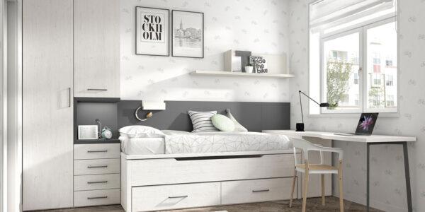 Bicama de dormitorio infantil 12b-0002 color blanco pizarro y gris vista frontal