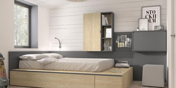 Dormitorio juvenil con cama bloc 12c-0001 color gris pizarra y montana vista completa
