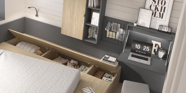 Dormitorio juvenil con cama bloc 12c-0001 color gris pizarra y montana vista de detalle