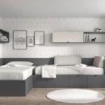 Dormitorio juvenil con cama bloc 12c-0002 color gris pizarra y nevada vista completa