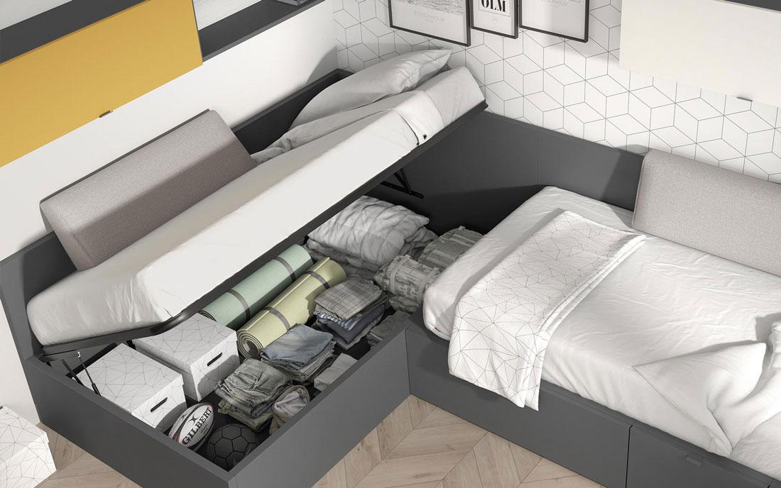 Dormitorio juvenil con cama bloc 12c-0002 color gris pizarra y nevada vista de detalle de almacenaje