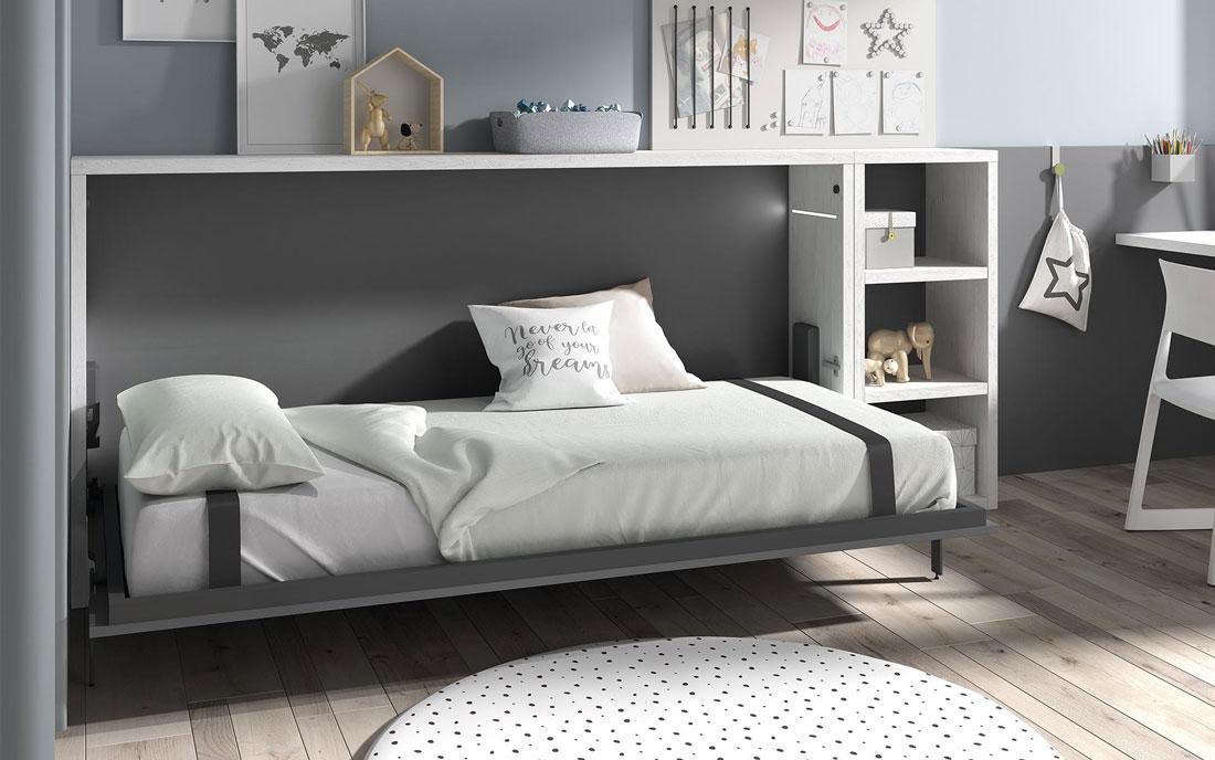 Dormitorio kids con cama abatible horizontal baja 12d-0002 color gris blanco y pizarra vista abierta
