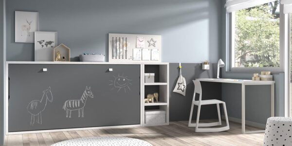 Dormitorio kids con cama abatible horizontal baja 12d-0002 color gris blanco y pizarra vista cerrada