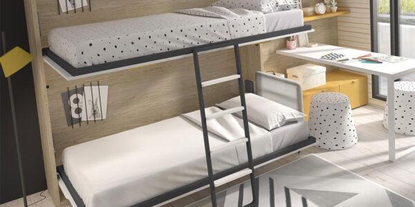 Escritorio de dormitorio kids con cama abatible doble 12d-0001 color montana curri y blanco vista abierta