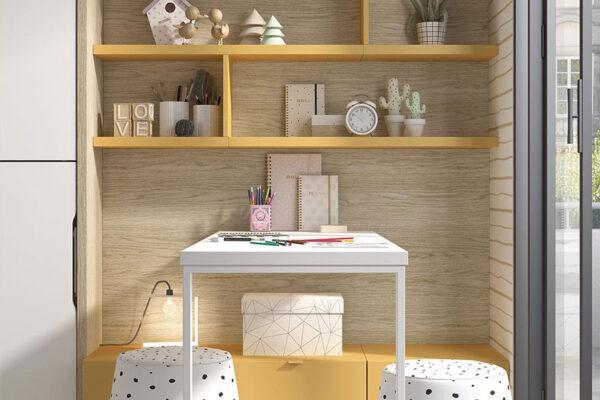Escritorio de dormitorio kids con cama abatible doble 12d-0001 color montana curri y blanco vista de detalle