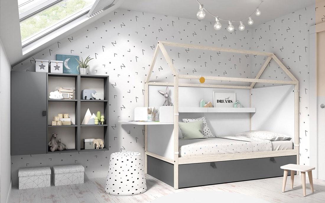 Dormitorio infantil con cama casita doble 12f-0005 color tierra pizarra y blanco vista completa