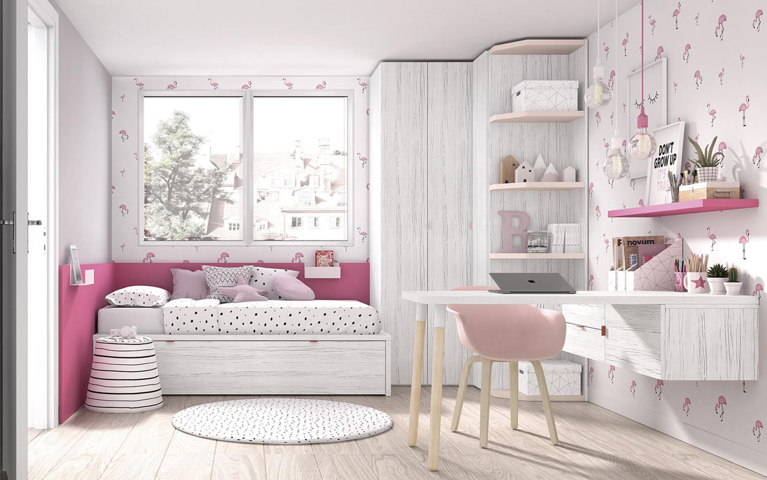 Cama nido de dormitorio infantil 12a-0001 color fussia vista completa