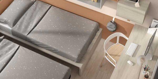 Cama nido doble de dormitorio infantil 12a-0002 color gris óxido y arizona vista de detalle top