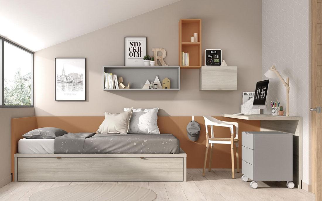 Cama nido doble de dormitorio infantil 12a-0002 color gris óxido y Arizona vista frontal