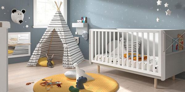 Cuna convertible dormitorio bebé 12i-0002 color beige vista completa alta