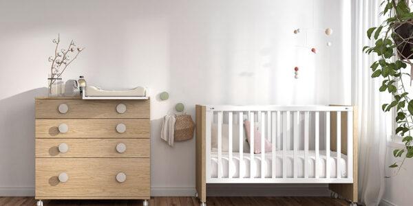 Dormitorio de bebé 12h-0003 color blanco y madera vista completa