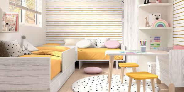 Camas convertibles dormitorio bebé gemelos 12i-0003 color gris y blanco vista completa alta