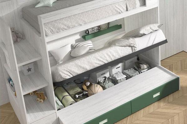 Cama de dormitorio kids con literas 12e-0002 color musgo y blanco vista de detalle