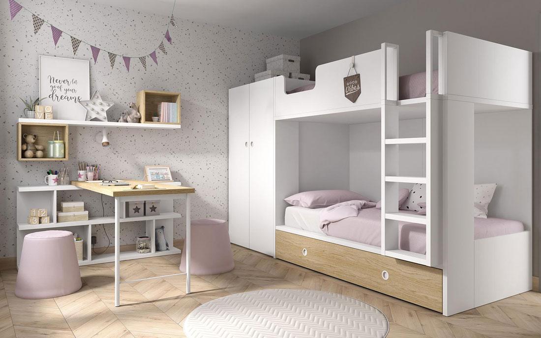 Dormitorio kids con literas 12e-0001 color blanco y madera vista completa