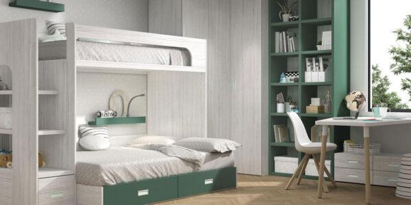 Dormitorio kids con literas 12e-0002 color musgo y blanco vista completa