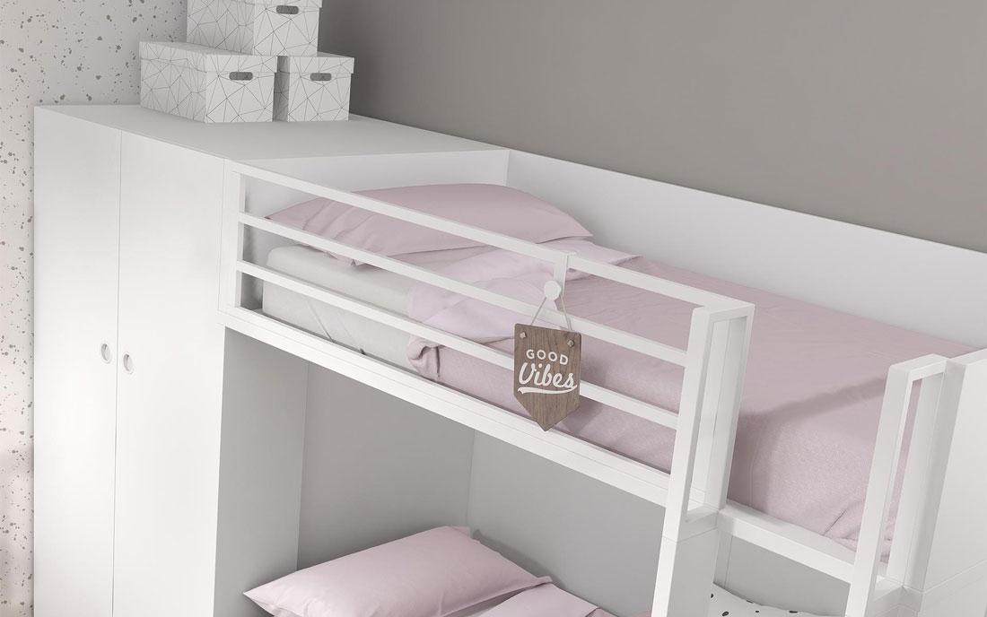 Cama de dormitorio kids con literas 12e-0001 color blanco y madera vista de detalle